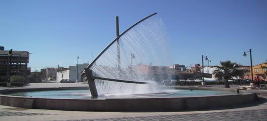 Water Sculpture of a Lanteen Sail