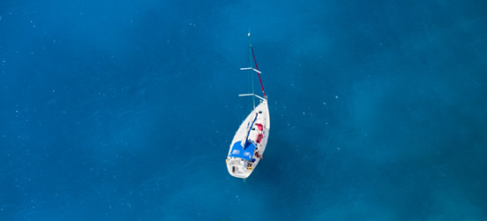 Elevated view of a Yacht at Anchor, Zante - Ionian Sea