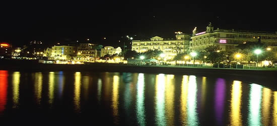 Night photo of the seafront