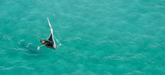 Aerial photo of a Local Dhow, Mozambique