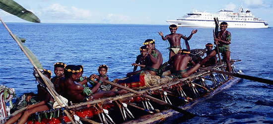 Enthusiastic locals at the Trobriand Islands