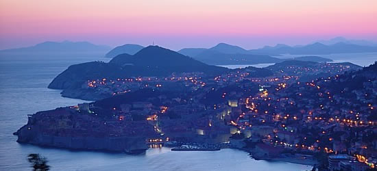Aerial view of Dubrovnik at Sunset