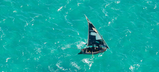 Aerial photo of a Local Dhow