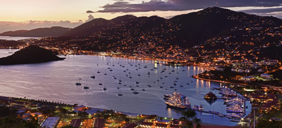 Aerial view of Charlotte Amalie Island, US Virgin Islands