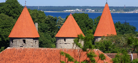 Red Tiled Medieval Watch Towers, Estonia