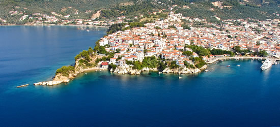 Aerial view of the Town of Skiathos