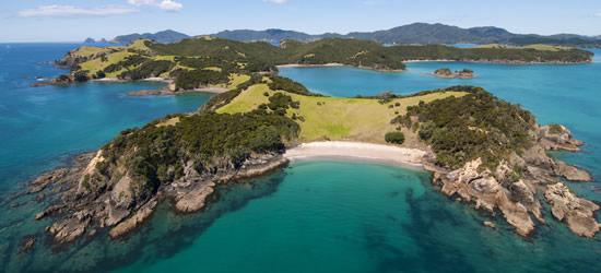 Aerial shot of Urapukapuka Island, New Zealand