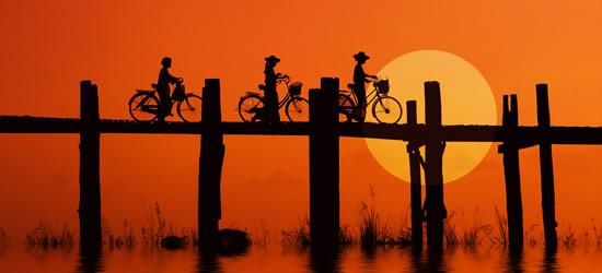Bikers on the U Bein Bridge, Myanmar