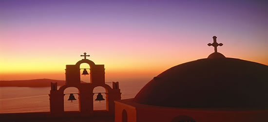 Incredible Sunset with a Greek Church in the foreground