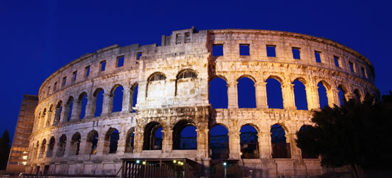 Night Photo of the Roman Amphitheater, Pula