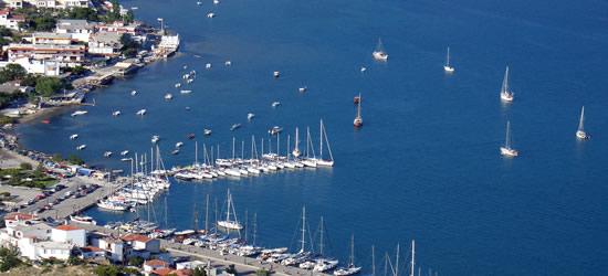 Aerial view of the Port of Skiathos