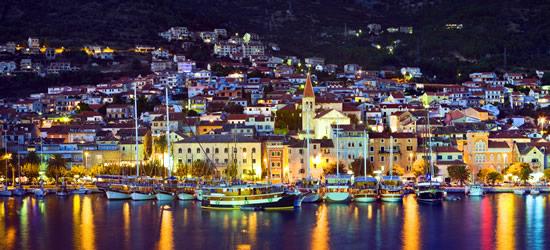 Night Time Shot of the Port of Makarska