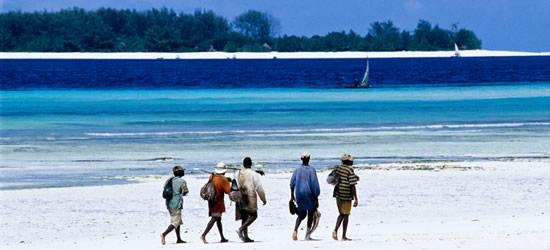 Fishermen walking on the Beach