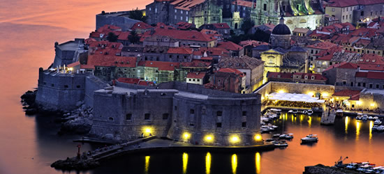 Aerial view of Dubrovnik, Twilight