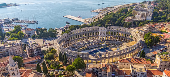 Aerial view of Pula