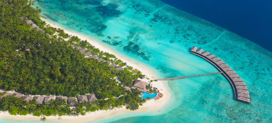 Aerial view of a Tropical Resort, Maldives