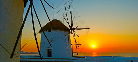 The Famous Windmills of Mykonos at Sunset