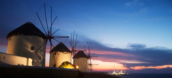 Windmills at Twilight, Santorini