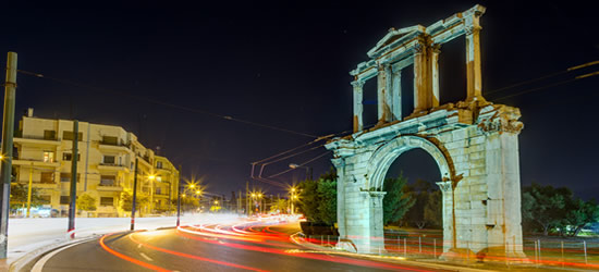 The Arch of Hadrian at night
