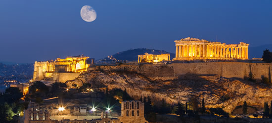 Parthenon under the Moonlight