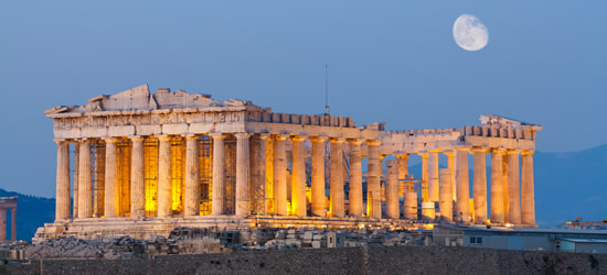 Parthenon, Acropolis Hill under the Moonlight